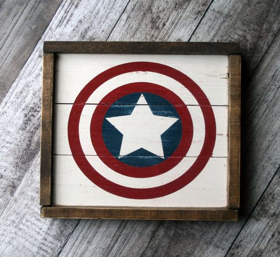 This super cool rustic Captain America sign makes the perfect accent piece in your little ones room or playroom. Can be made with any superhero
