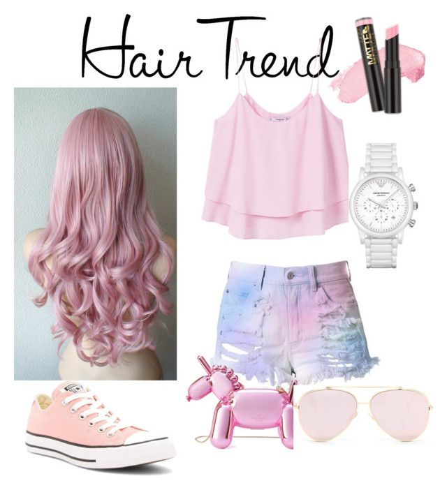 """Hair trend"" by renataoczak on Polyvore featuring beauty, MANGO, Converse, Kate Spade, Emporio Armani, hairtrend and rainbowhair"