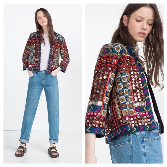 Cyber Monday Zara embroidered jacket One of this current season's most popular jacket. Worn by many bloggers and even celebrities. This year short embroidery jacket is a must have. Main fabric 100% cotton. Embroidery 60% cotton, 40% polyester size S Zara Jackets & Coats