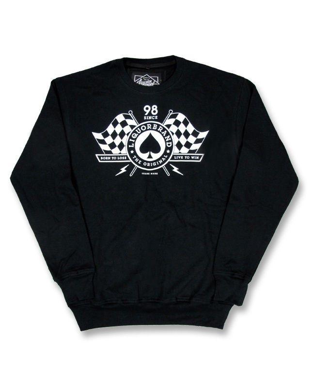 Liquor Brand Herren BORN TO LOSE Pullover.Tattoo,Biker,Rockabilly,Custom Style
