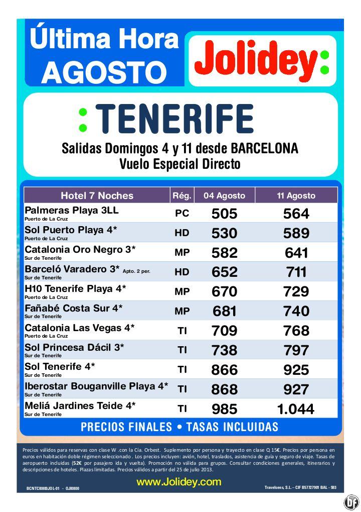 Tenerife Oferta Ultima Hora desde 505€ Tax incl.- 7 Noches Desde BCN salidas 4 y 11 de Agosto - http://zocotours.com/tenerife-oferta-ultima-hora-desde-505e-tax-incl-7-noches-desde-bcn-salidas-4-y-11-de-agosto/