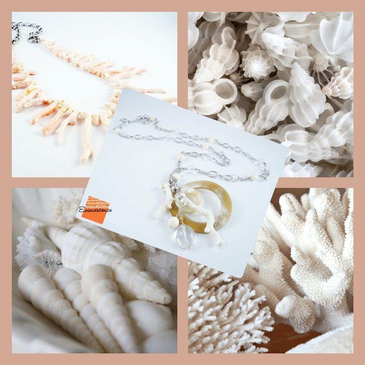Evanescence Gioielli Avorio fossile, cristallo di rocca , corallo bianco, madreperla e argento rodiato .