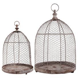 Infuse your patio scheme with rustic style with this set of 2 wire decorative birdcages. Perfect for showcasing potted plants or housing pillar candles.  Product: Small and large birdcageConstruction Material: Metal and wire meshColour: BrownFeatures: Lockable doorDimensions: Small: 46 cm H x 30 cm Diameter Large: 55 cm H x 37 cm Diameter