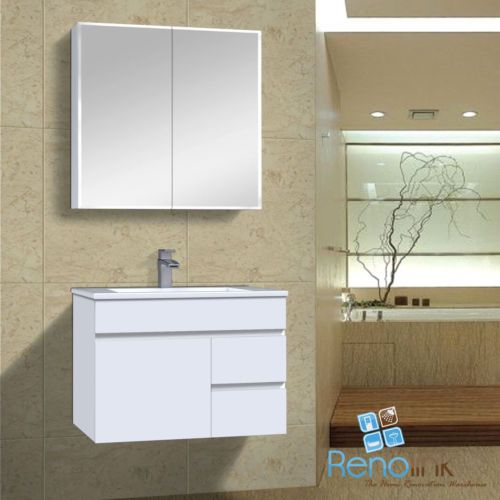 IVANA 750 x 465 mm WH R BATHROOM VANITY FINGERPULL WHITE GLOS POLY CERAMIC BASIN in Home & Garden, Building Materials & DIY, Plumbing & Fixtures | eBay