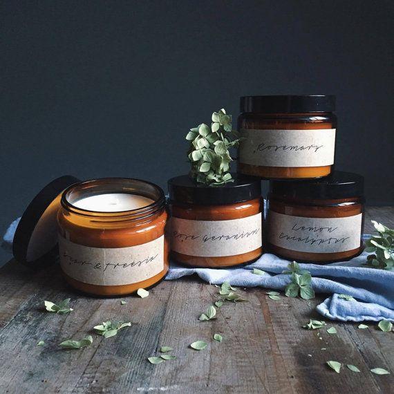 Lemon Eucalyptus Scented EO Amber Glass by TheBotanicalCandleCo