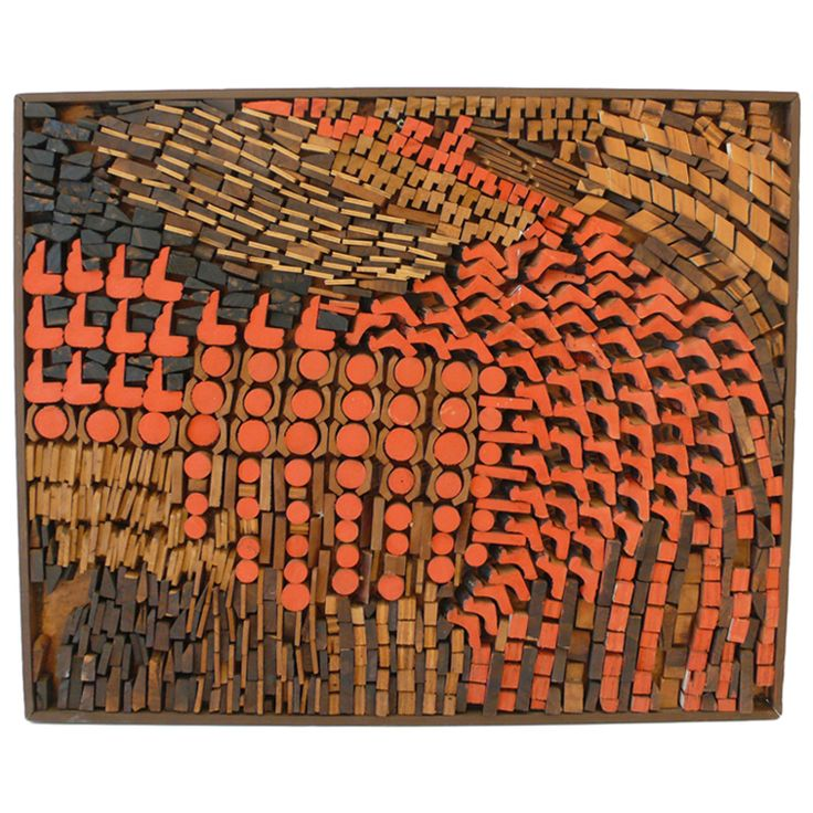 Multi-Color Josef Twirbutt Wall Sculpture USA c. 1960's Abstract wall relief of sawn, stained, painted, and collaged wood by Lithuanian-born American artist Josef Twirbutt. Twirbutt arrived in New York City in 1959 and plugged himself into the Village art scene. He created his wall sculptures in the 1960's and 1970's. Large-scale projects included a masonry mural at 1 Police Plaza. His work has been exhibited in galleries and shows across the country, as well as in Spain, Italy, and Mexico.