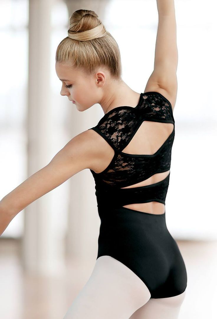 This cutout lace design adds a fun twist to your classic black leotard! #Dance