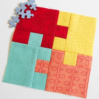 """FREE JIGSAW PATCH BLOCK - in support of Autism Awareness Month.  Pattern details 6"""" (finished size) block but includes cutting sizes for 12"""" block."""