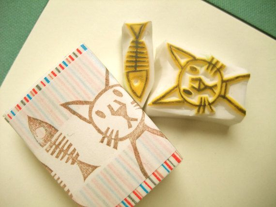 Cat no hand carved rubber stamp set crafting