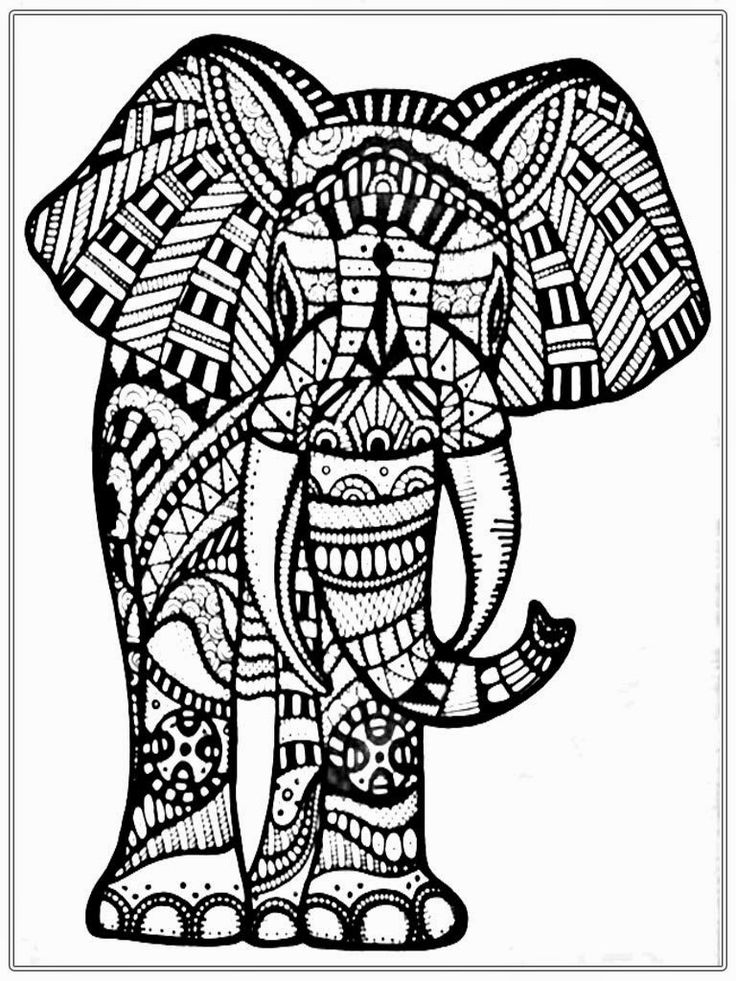 159 Best Elephant Coloring Pages For Adults Images On