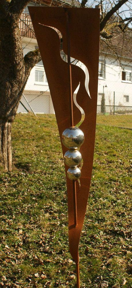 Gartendeko Rost Stab  mit 3 Edelstahlkugeln zwei Meter
