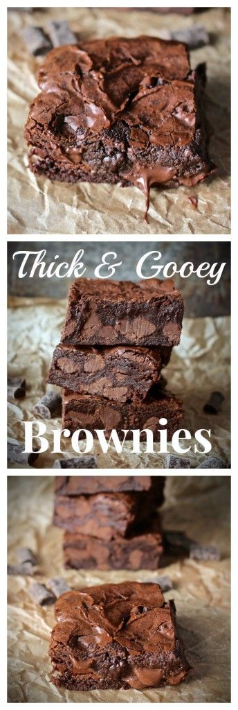 Thick and Gooey Brownies -- a rich, delicious pile of goodness! http://www.jaysbakingmecrazy.com/2015/05/08/thick-and-gooey-brownies/