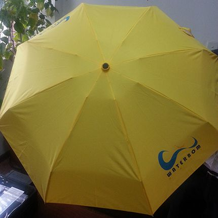Three folding gift umbrella Umbrella Pole: steel Rib: fiber  Printing Method:Silk printing