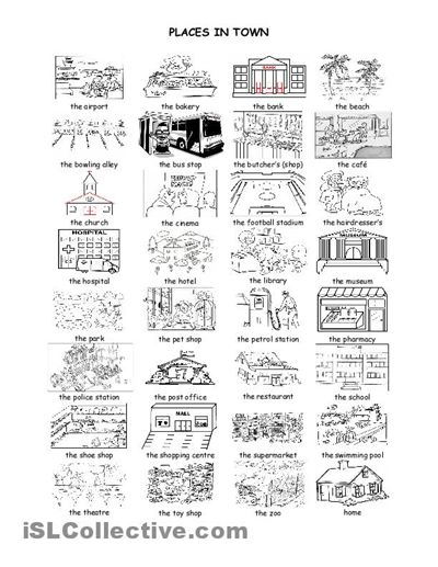 Places in town: an illustrated vocabulary handout. | Asking and giving ...