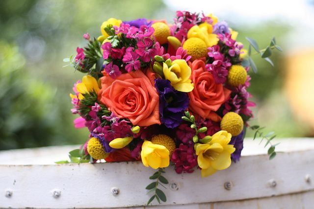 Orange Navy Yellow Wedding Flowers | Bright Orange Yellow Purple Wedding Flowers by Passion for Flowers ...
