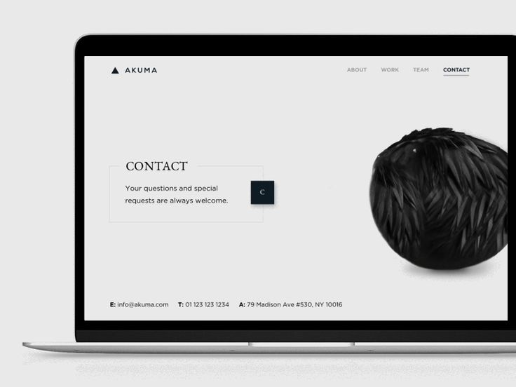 Simple contact form that expands from the hover state of a button. The raven took most of my time, it's a composite of photoshop and after effects.
