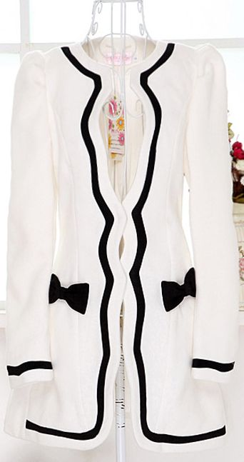http://www.pinterest.com/pin/339881103099675575/ Just 4 days left! Enter to win what you like! $31.36 Ladylike Women's Collarless Black Hem Bowknot Embellished Slimming Long Sleeves Blended Coat