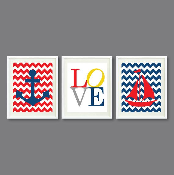 Nautical Chevron Print Set-Three 11x14-Nursery, Kids Room, Home Decor-Red, Blue, Yellow and Grey OR Choose colors-Anchor, LOVE, Boat