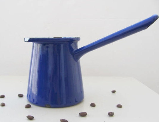 vintage enamelware turkish coffee pot cezve ibrik milk pot