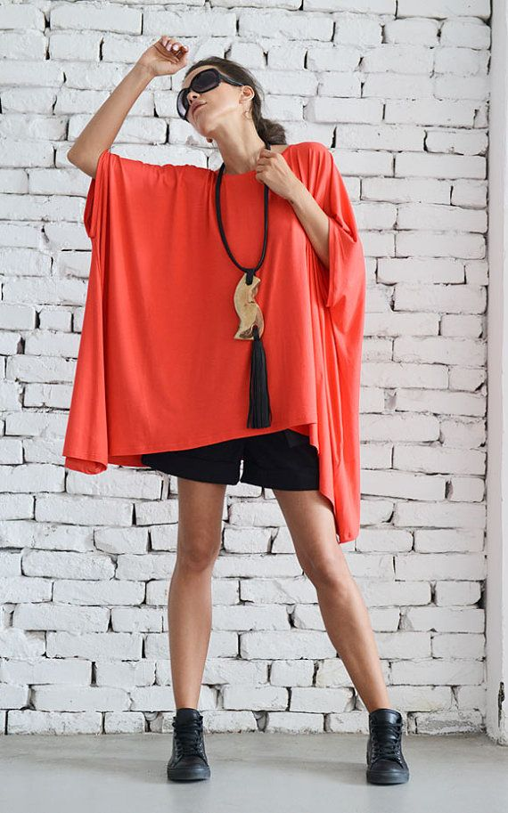 Red Maxi Top/ Oversize Loose Casual Top / by Metamorphoza on Etsy