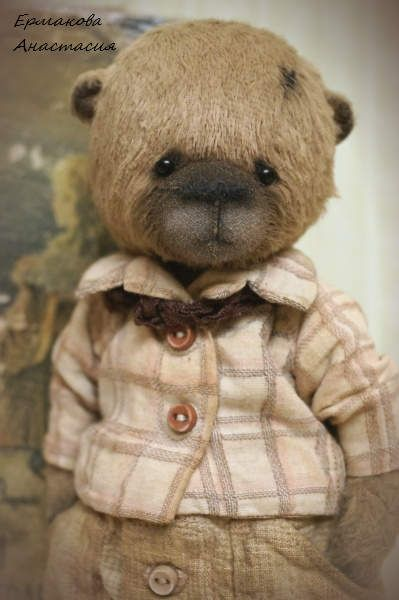 Stepan By Ermakova Anastasya - Hello! Stepan is made of brown German viscose, 6 pins, on the double cotter pin, stuffed with sawdust and granulate. He is fully jointed and has his head, legs and arms movable. His eyes are black German glass.The bear is stuffed with sawdust very tightly.He wears a cotton aged shirt wi...