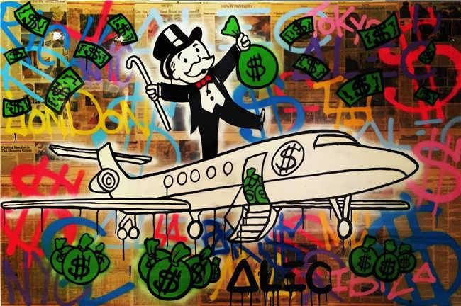 Alec Monopoly Oil Painting On Canvas Urban Art Wall Decor Color