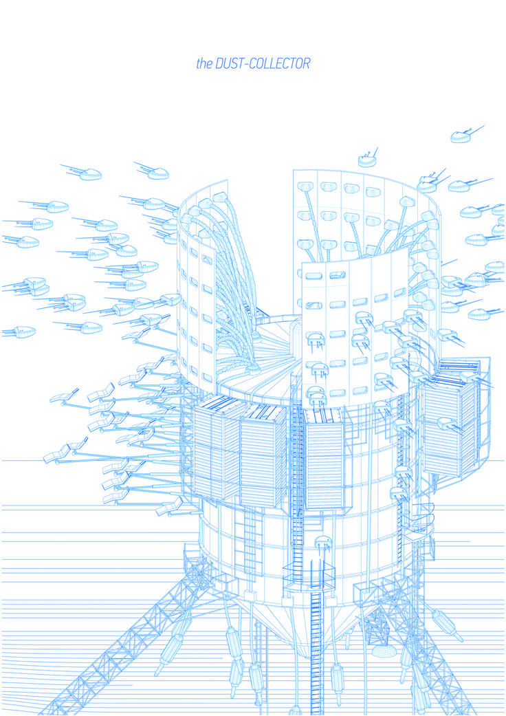 Drawing ARCHITECTURE Stefanidis Konstantinos, DUST COLLECTOR/ Creating dust-clouds for power generation (2013)