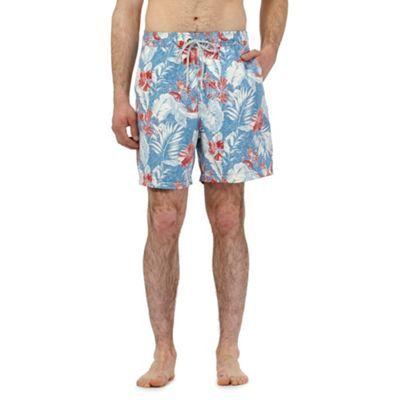 Mantaray Blue floral leaf print swim shorts   Debenhams