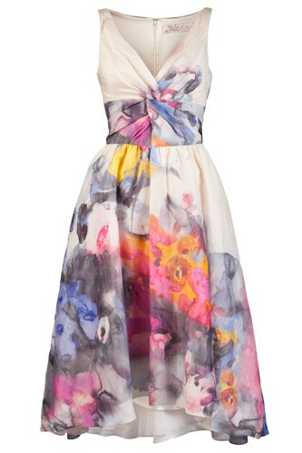 Dreaming in watercolor with this Lela Rose frock.
