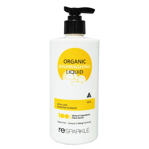 reSPARKLE Organic Dishwashing Liquid 515ml $7.70 100 % Naturally powerful formula for sparkling dishes, plus gentle on your skin & our planet.   100% NATURAL 100% PLANT BASED SOAP FREE NON TOXIC CUTS THROUGH GREASE SUITABLE FOR SENSITIVE SKIN This is a low foam product but don't let that fool you, it most definitely does not impact the cleaning ability. Most foaming agents are harmful to your health. So no foam wins.