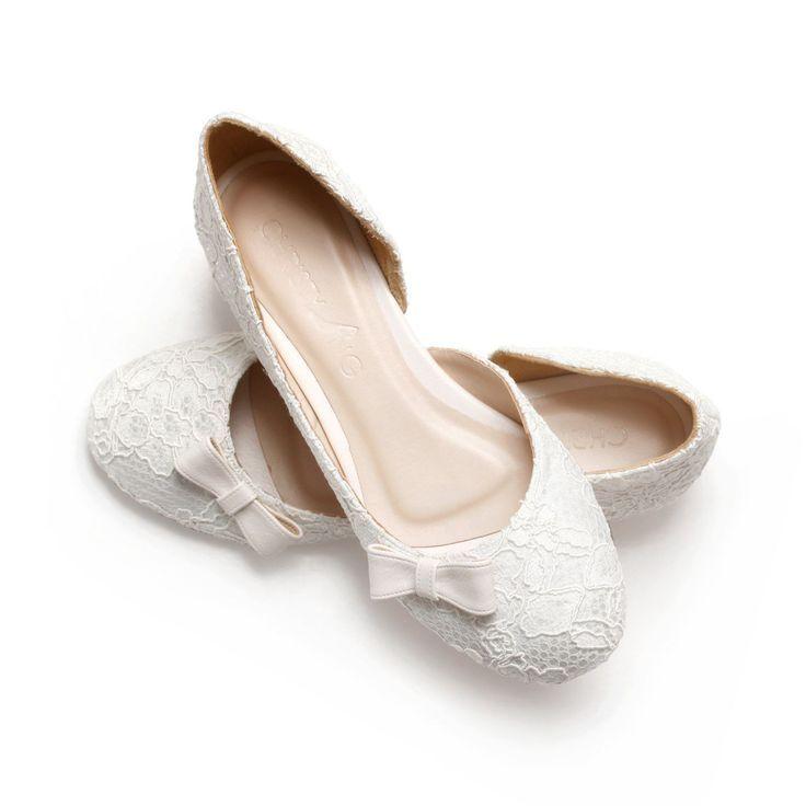 online retailer 19b2f b5bab Ivory Lace White Satin Wedding 1 Inch Ballerinas Ivory ...