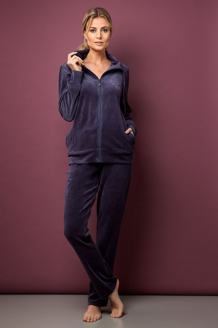 Warm and luxurious smooth deep purple velvet homesuit - guaranteed to look great and feel warm around the house this winter!