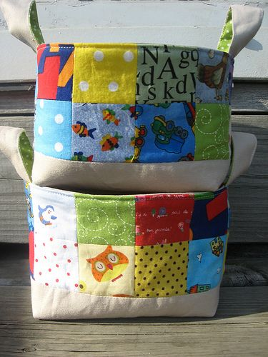 Patchwork Fabric Baskets, Super cute and at an awesome blog!