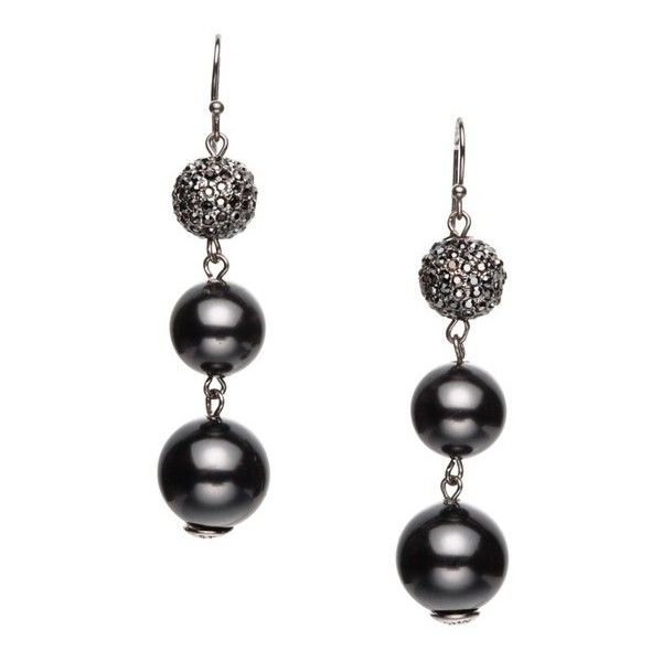 St. John Pearl & Swarovski Crystal French Wire Earring (142,045 KRW) ❤ liked on Polyvore featuring jewelry, earrings, white pearl drop earrings, swarovski crystals earrings, pearl jewelry, white pearl earrings and wire jewelry