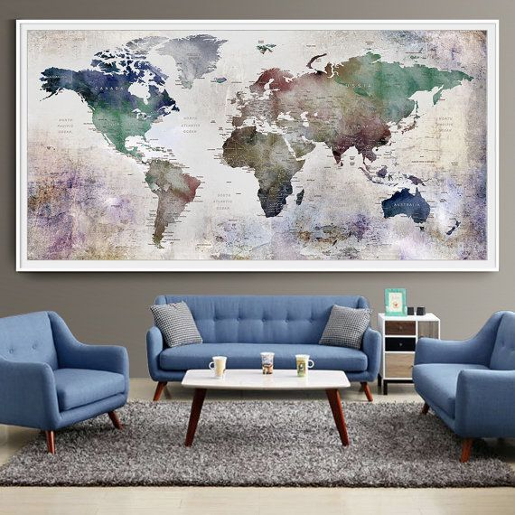Large World Map Watercolor Push Pin Push pin by FineArtCenter