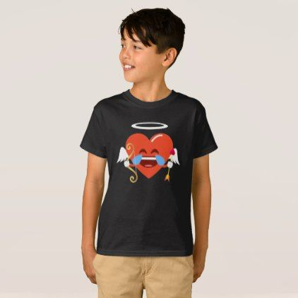 Cupid Heart Emoji Tears of Joy Valentines T-Shirt - valentines day gifts gift idea diy customize special couple love
