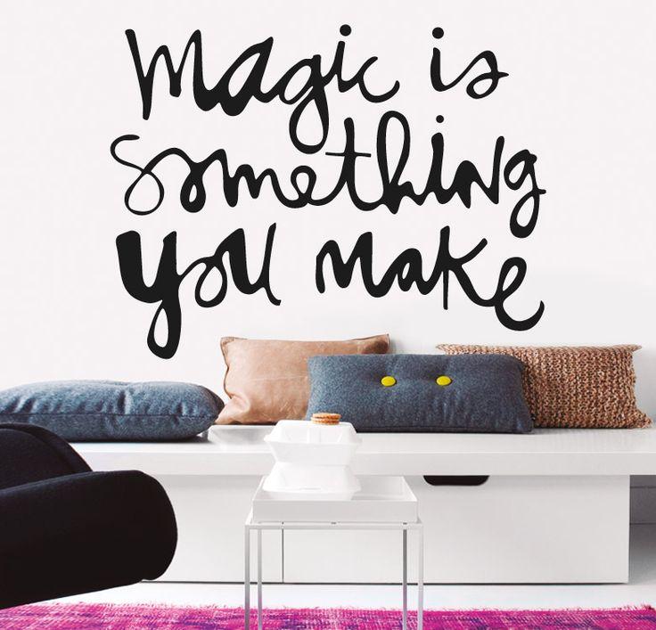 MAGIC http://www.myvinilo.com/vinilos-decorativos-textos/magic.html Magia sin trucos. Vinilos decorativos, hogar, decoración, interiores, pared, diseño, wall decals, stickers, decoration, design, poetry, poesia, words, palabras, frases, dichos.