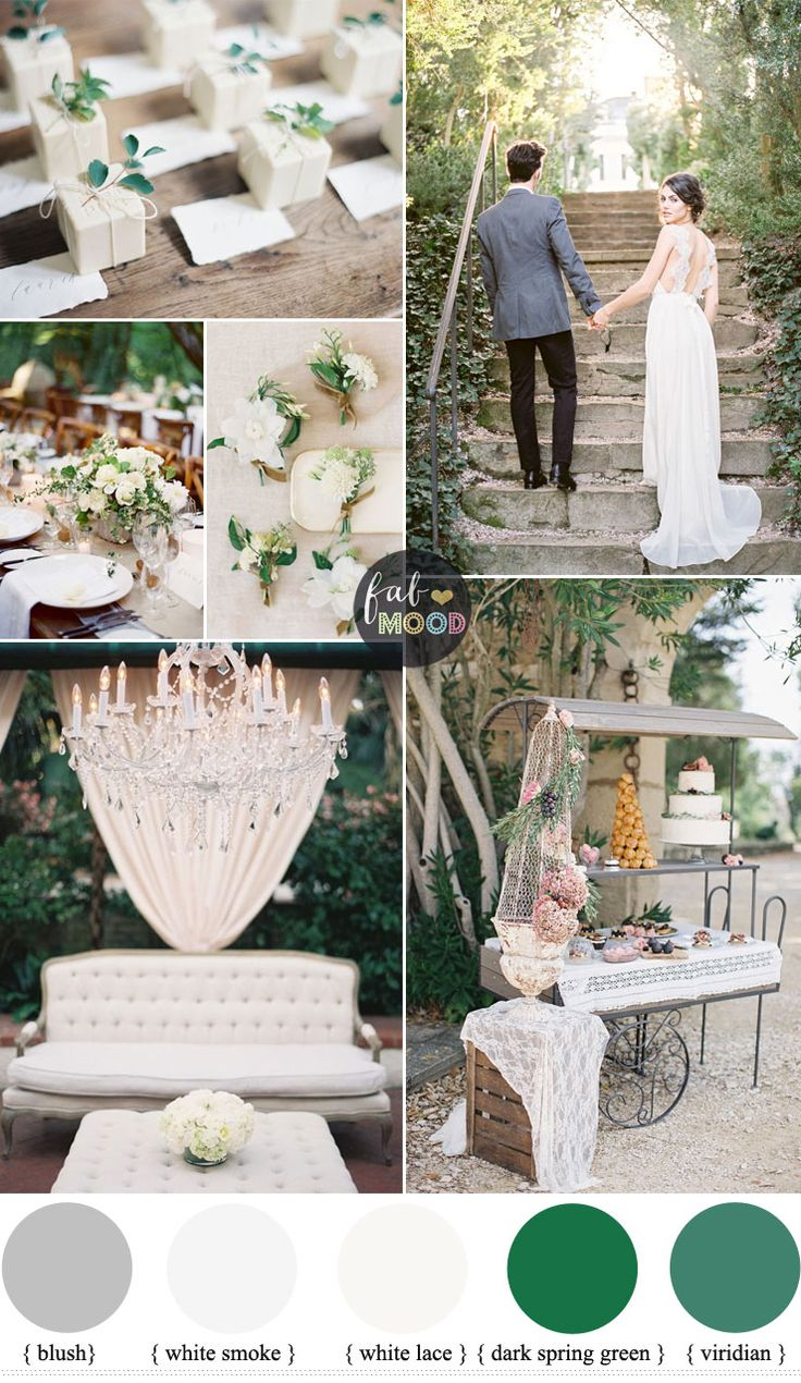 A french style wedding held in the gardens of French countryside?A shades of green wedding ideas for French inspired wedding in Countryside with lace weddi