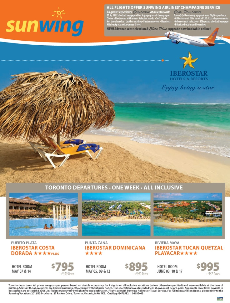 Iberostar Hotels & Resorts in Mexico and the Dominican Republic. Vacation packages starting at $795 + $390 taxes. - Toronto Departures