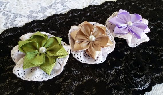 3 fabric flowers ribbon and lace flowers supplies by Rocreanique on Etsy