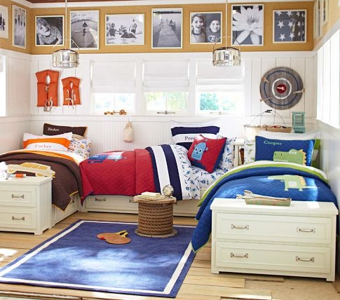 Belden Bedroom Set | Pottery Barn Kids - this is really close to the original idea I was thinking of.  I was thinking maybe a little taller with a box for toys as well for them.