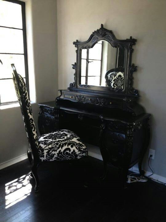 damask and black vanity set bedroom pinterest baroque chairs and goth. Black Bedroom Furniture Sets. Home Design Ideas
