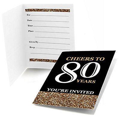 Fill In The Blank 80th Birthday Invitations