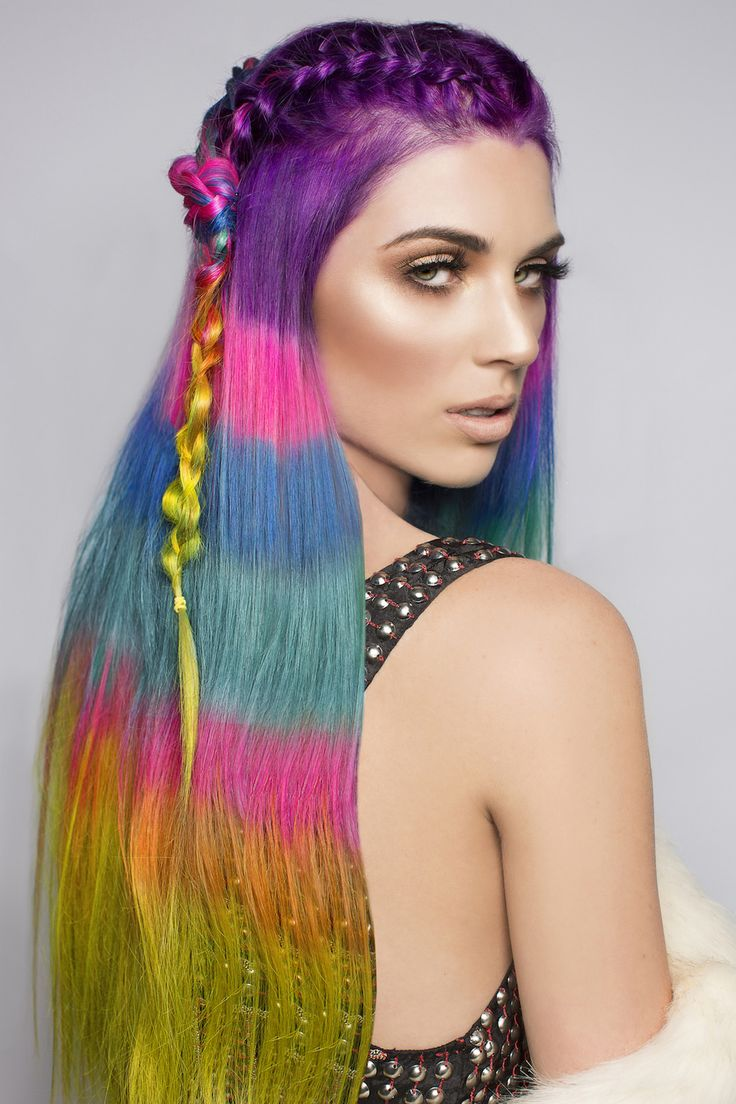 The Color Blocked Hair Dye Trend Takes Rainbow Hair to the Next Level via Brit + Co.