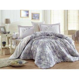 Hobby Home Romina - lenjerie de pat din bumbac satinat mov 2 persoane