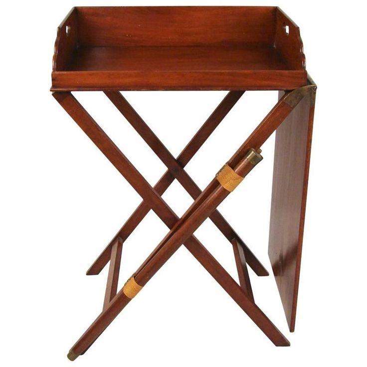 Rare English Mahogany Butleru0027s Tray With Companion Serving Table