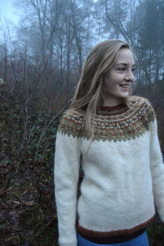 Pullover handknitted sweater Icelandic wool by Kollestrik on Etsy, $350.00