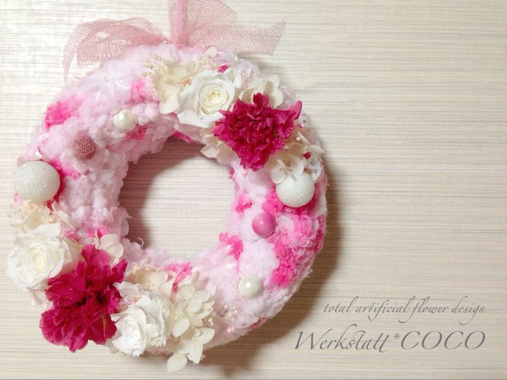 puffy wreath*pink carnation http://wercoco.theshop.jp/items/592234