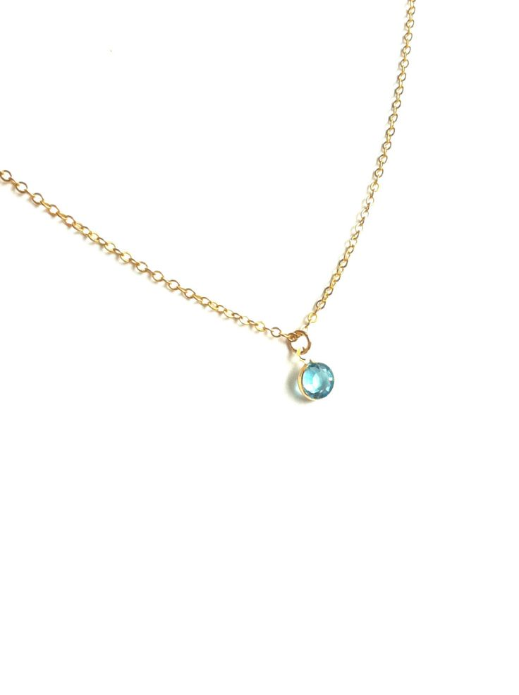 Aquamarine Crystal Necklace, Tiny Crystal Necklace, Thin Gold Necklace, Simple Crystal Necklace, Delicate Gold Necklace, Tiny Gold Necklace by ivolvebeauty on Etsy https://www.etsy.com/listing/210473680/aquamarine-crystal-necklace-tiny-crystal