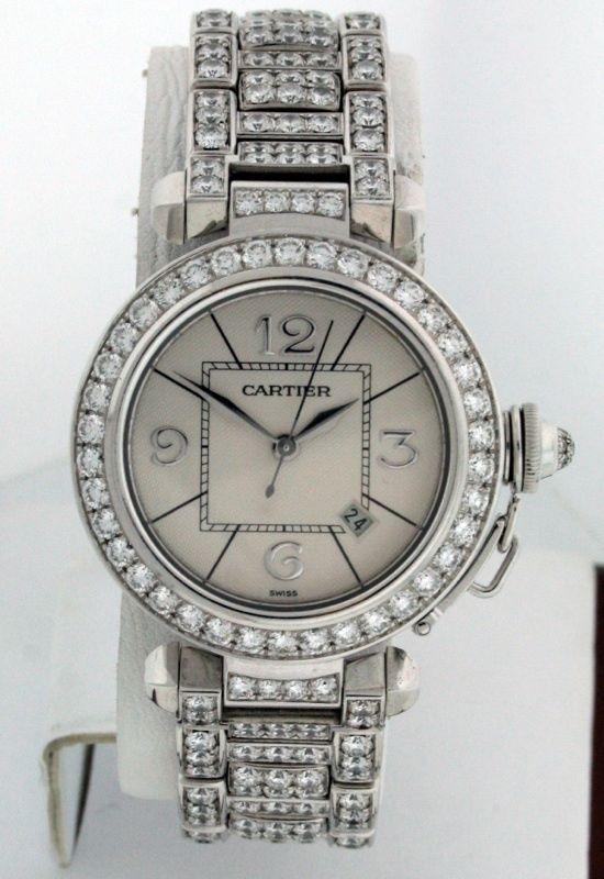 Cartier Pasha 18k White Gold FACTORY ALL DIAMOND ladies Click to find out more -  http://menswomenswatches.com/cartier-pasha-18k-white-gold-factory-all-diamond-ladies/